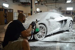 Exterior pretreat using foam cannon to loosen all dirt, grime and debris prior to hand washing