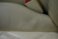Multiple Interior leather damages - heavily dirty surface permanent stains, scratches and scuffs