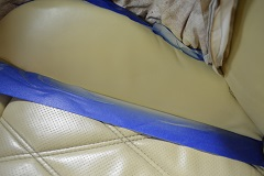 Multiple professional color-matching paint applications to the leather surface